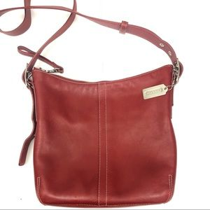 COACH LEGACY CROSSBODY DUFFLE RED LEATHER